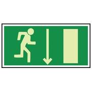 """Hartplatte Notausgang, photolumineszierend """"Person die nach rechts läuft, Pfeil nach unten"""" (PEPPHR21 360)"""