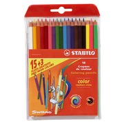 Poch. 18 colour pencils, Stabilo of which 3 fluo