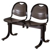 Vega 2 chairs on a beam, width 98,5 cm - black metal