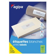 Etiquette adresse jet d'encre et laser 38 x 21,2 mm Agipa 118990 blanche - Boîte de 6500