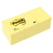 Notes repositionnables jaune classique Post-it 38 x 51 mm - bloc de 100 feuilles