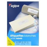 Etiquette adresse jet d'encre et laser 63,5 x 38,1 mm Agipa 118984 blanche - Boîte de 2100