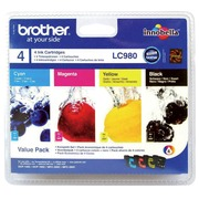 Set 4 cartridges Brother LC980 zwart + kleuren