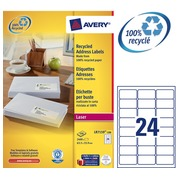 Box of 100 recycled labels 63,5 x 33,9 mm Avery LR 7159 white