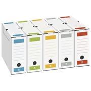 Boîte archives carton Bruneau dos 8 cm couleurs assorties