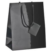 Karton mit 25 glänzenden Einkaufstaschen mit seilförmigen Handgriffen 14 x 11 x 6 cm
