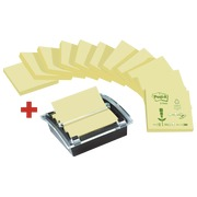 Pack 12 blocks Post-it Z-notes, yellow, 76 x 76 mm, recycled paper + 1 Millennium dispenser