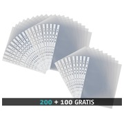 Pack 200 perforated A4 sleeves Elba PP 9/100 smooth polypropylene + 100 free