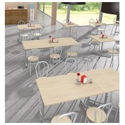 Pack Vilma 2 - Table rectangulaire + 4 chaises couleur érable