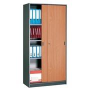 Cupboard sliding doors 180x90 cm, body anthracite - doors beech