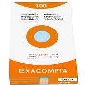Etui de 100 fiches - bristol ligné non perforé 125x200mm.