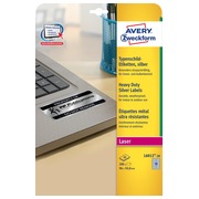 Avery étiquettes ultra résistantes argentées ft 96 x 50,8 mm (l x h), 200 pièces, 10 par feuille