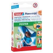 Tesa Powerstrips Poster, charge maximum 200 g, blister de 20 pièces