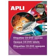Apli étiquettes pour CD/DVD boîte de 25 feuilles, 50 étiquettes, Full size