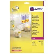 Avery Afneembare neon etiketten ft 38,1 x 21,2 mm (b x h), doos van 25 blad, 1.625 stuks, geel