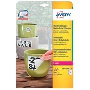Avery afneembare weerbestendige etiketten Ft 63,5 x 33,9 mm (b x h), wit, doos van 480 etiketten