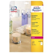 Avery transparante Crystal Clear etiketten ft 21 x 29,7 cm, 25 etiketten, 1 per blad