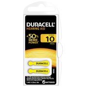 Blister 6 piles Duracell pour appareil auditif type 10
