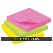 Pack 12 repositionable colored notes Bruneau 75 x 75 mm + 12 for free