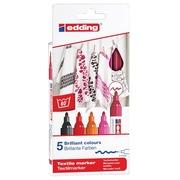 Edding feute textile 4500, set de 5 pièces en couleurs assorties chaudes