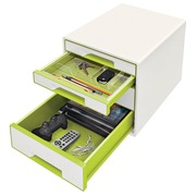 Leitz bloc à tiroirs WOW, 4 tiroirs, blanc/vert