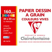Sleeve 12 sheets of drawing-paper vivid colors A4+ Clairefontaine 160 g