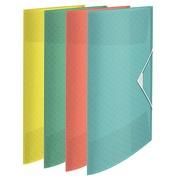 Folder with elastics 3 flaps plastic Colour Ice 23,3 x 32 cm back of 2 cm