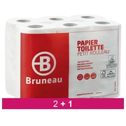 Pack 2 + 1 toilet paper double thickness Bruneau - pack 48 rolls 200 sheets