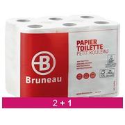 Pack  2 + 1 Papier toilette double épaisseur Bruneau - Colis 48 rouleaux 200 feuilles