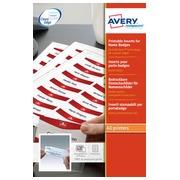 Inserts microperforés Avery 6530 pour badge 30 x 65 mm - Boîte de 180