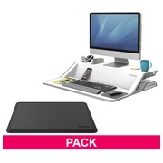 Pack ergonomie station de travail assis-debout blanc et tapis anti-fatigue Fellowes