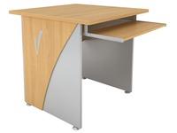 Bureau informatique Navis L 80 x P 80 cm plateau hêtre piétement plein hêtre/aluminium
