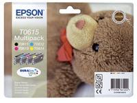 Pack von 4 Cartridges Epson T0615 Schwarz + Farbig