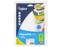 Box of 48 adhesive labels Agipa 114024 white 64 x 133 mm laser and inkjet