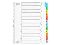 Intercalaire A4+ carte bristol blanche Elba 12 onglets numériques multicolores - 1 jeu