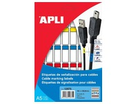 Etiquette câble 19,1 x 48,8 mm Agipa 12875 couleurs assorties - Pochette de 120