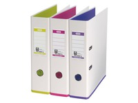 Plastic lever arch file Elba My Colour A4 back 8 cm white interior assorted colours.