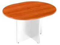 Ovalen vergadertafel Excellence kerselaar plateau gekruist voetstuk