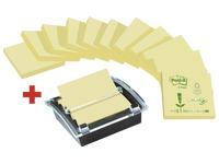 Pack 12 blocs z-notes jaunes de 100 feuilles Post-It 76 x 76 mm + dévidoir