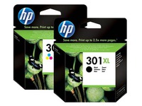 HP 301XL zwart + 301 XL Pack cartridges 3 kleuren voor inkjetprinter