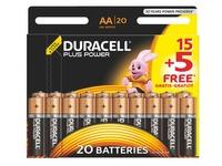 15 piles alcalines AA - LR6 Duracell Plus Power + 5 offertes