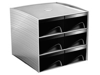 Mini storage module in plastic Cep My Cube 6 drawers black