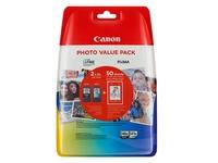 Canon PG-540 XL/CL-541XL Photo Value Pack - 2 - hoog rendement - zwart, kleur (cyaan, magenta, geel) - 50 vel(len) - 100 x 150 mm - inktcartridge / papierset