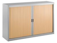 Tambour cabinet, specific width, 100 x 160 cm, aluminium body, beech tambours