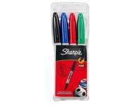 Permanente markers met dopje Sharpie kegelpunt fijn klassieke kleuren - hoesje van 4