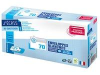Witte omslagen 110 x 220 mm 80 g zonder venster - doos van 70 stuks
