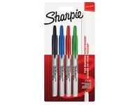 Permante marker inklikbaar Sharpie fijne punt - hoesje van 4 standaard geassorteerde kleuren
